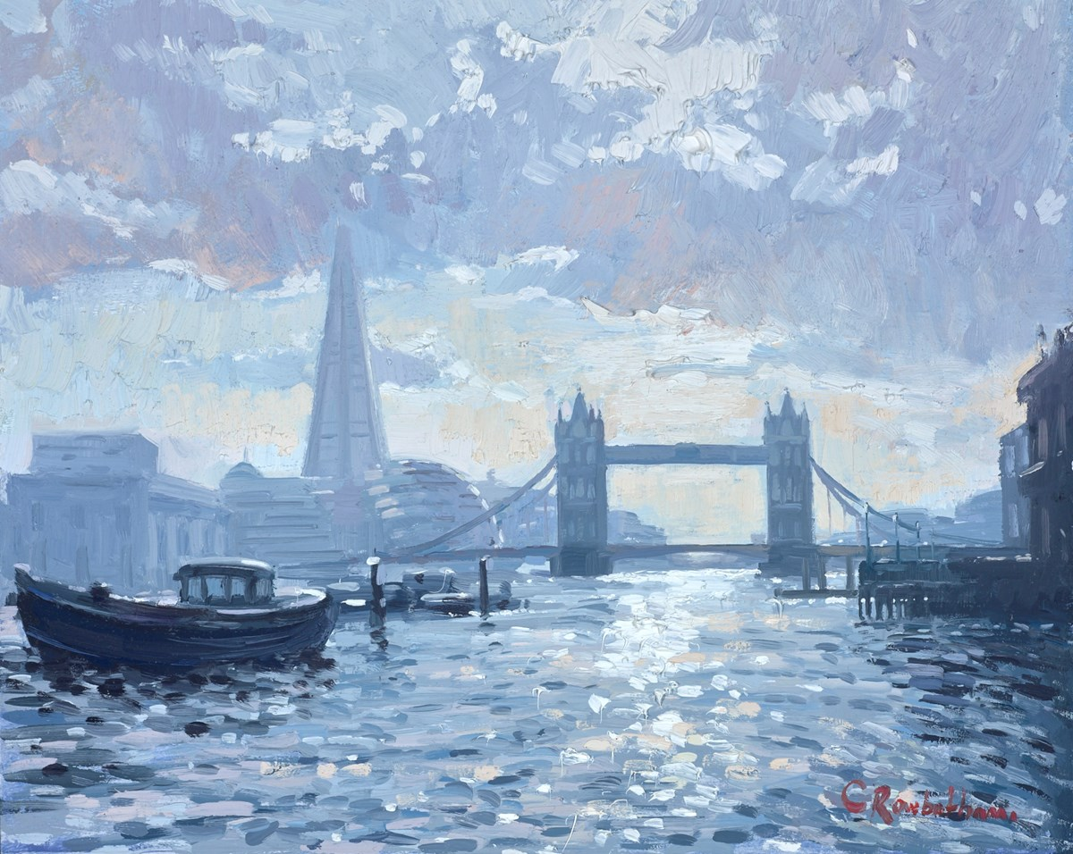 Tower Bridge, Summer Shadows by charles rowbotham -  sized 12x9 inches. Available from Whitewall Galleries
